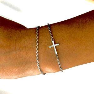 Jewelry - • Zoe • Stainless Steel Layered Cross Bracelet